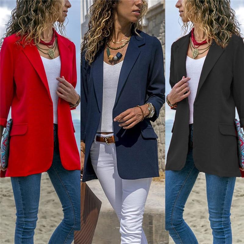 2018 Frühling Herbst Ol Schwarz Frauen Blazer Neue Mode Ohne Taste Blazer Femenino Damen Blazer Weibliche Büro Kostüm Knitterfestigkeit