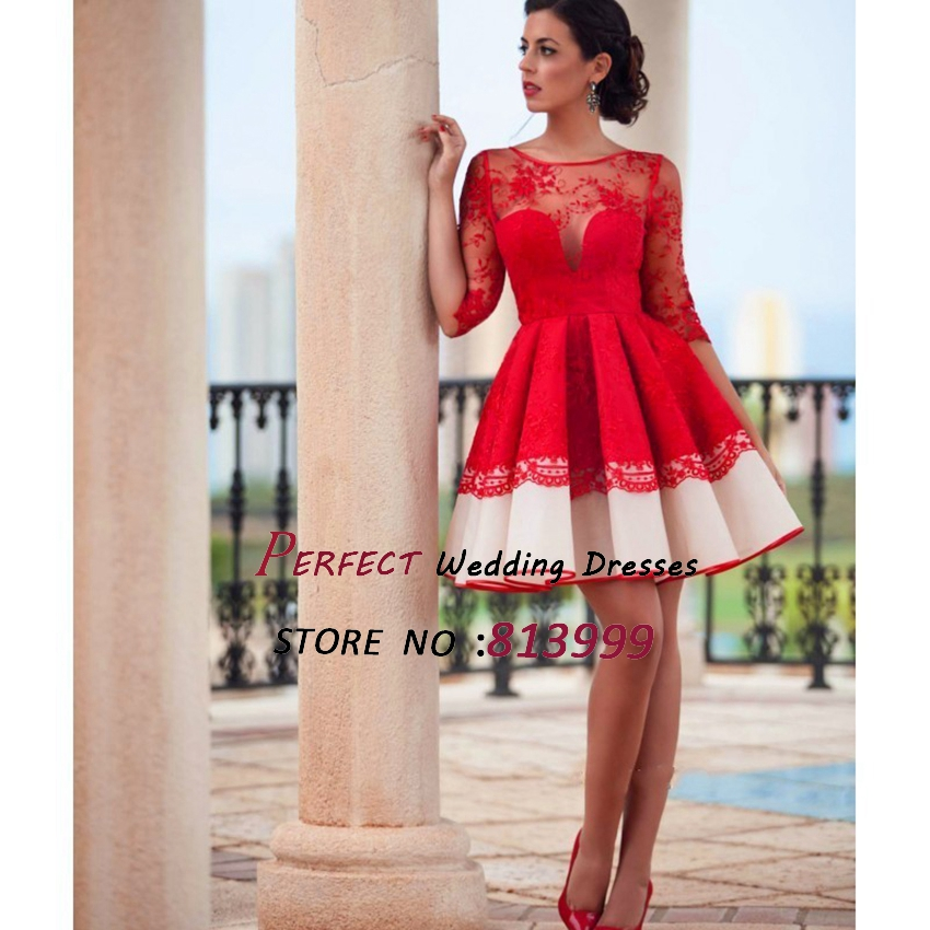 Aliexpress.com : Buy Transparent 2016 Red Cocktail Dresses Newest ...