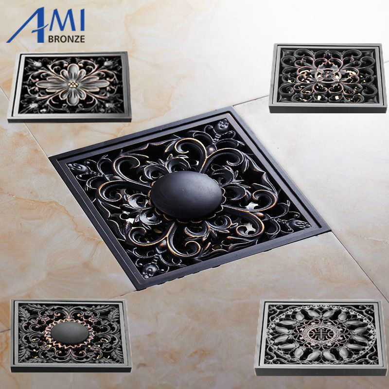 10x10cm Brass Black Bronze Floor Drain Bathroom Kitchen Shower Roon Porch Square Floor Waste Drain Grate Sanitary modern 90 10 cm oil rubbed bronze style deodorization grate waste floor drain floor mounted