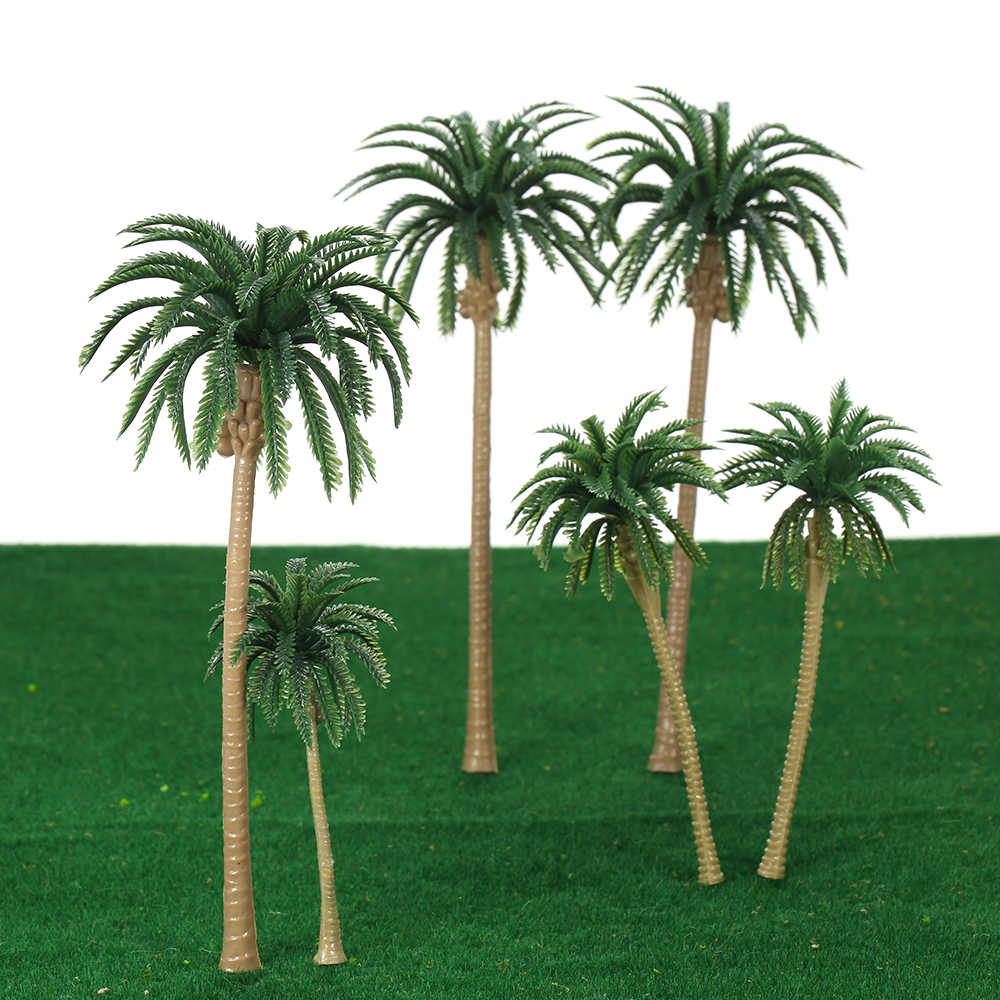 2018 New Hot 15pcs Miniature Scenery Layout Model Plastic Tree Palm Trees Train Coconut Rainforest Home Garden Decoration