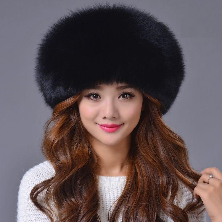 Dreamtach Brand Winter Women Female fox fur hat thickness protect ear warm cap  Beanies Headgear