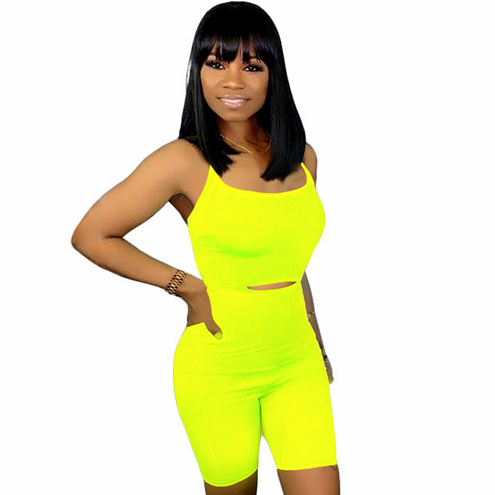 Sexy Zomer Playsuit Neon Groen Geel Party Club Bodycon Bandage Body Overalls Backless Lace Up Shorts Rompertjes Womens Jumpsuit