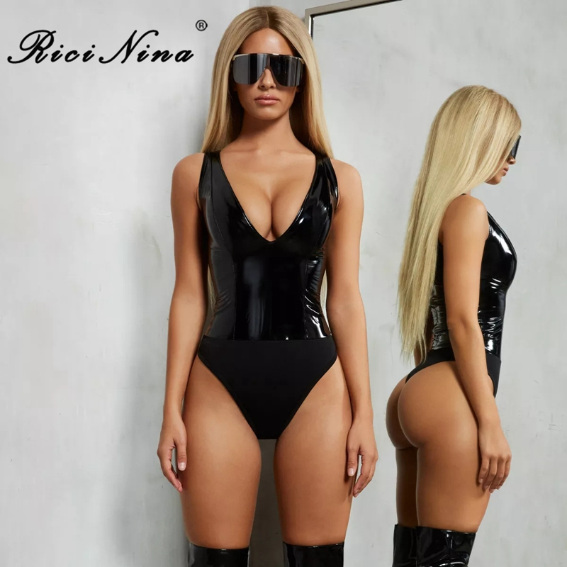 RICININA PU Leather Bodysuit Women 2019 V Neck Sleeveless Solid Female Rompers Womens   Jumpsuit   Skinny Sexy   Jumpsuit   Clubwear