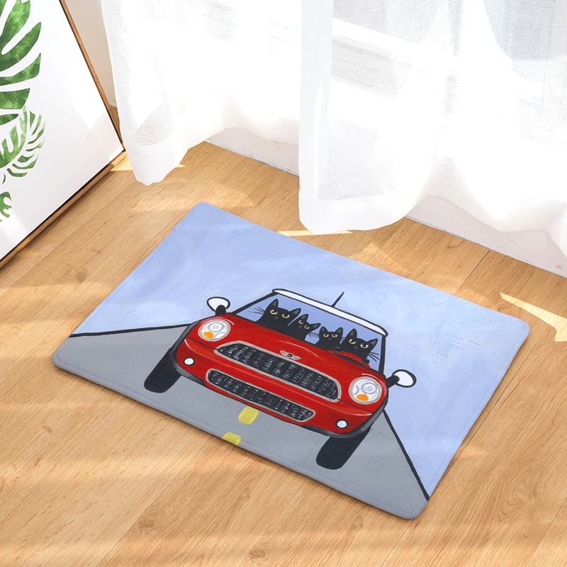 Cartoon Flannel Carpet Car Cat Printing Mat For Living Room 40x60cm Door  mat Rectangle Tapete Fashion Household Items c7d7b5535af8c