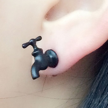 Unique Funny Black Upcycled Enamel 3D Faucet Stud Earrings For Cool Women Men Jewelry Accessories Gifts image