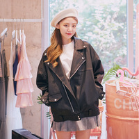 Spring PU Leather Women S Bomber Jacket Womens Spring Jackets Motorcycle Jacket Zipper Solid Color Casual