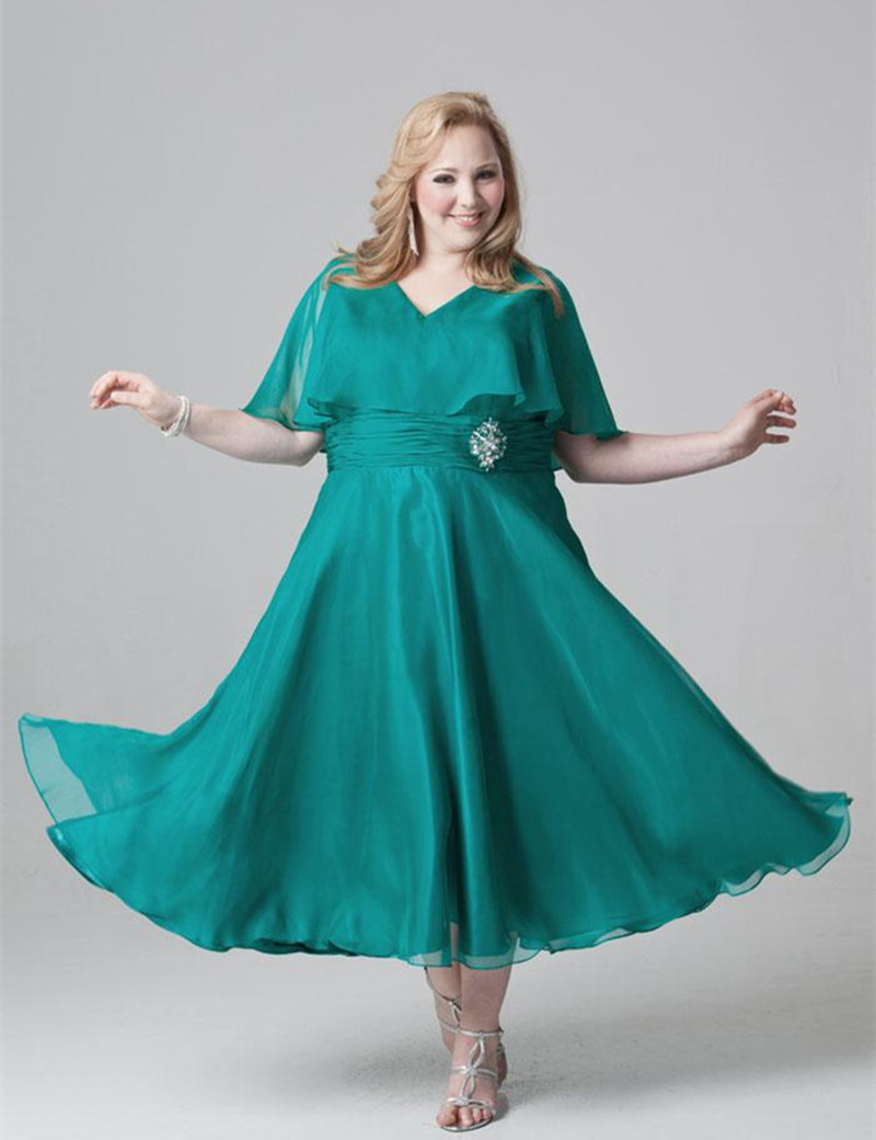 Christina S Tea Length Mother Of The Bride Dresses Plus Size ...