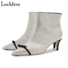 Luchfive Bling bling crystal kitten Heel Ankle Boots for women rhinestone  bowtie decor Short boots shiny crystal winter shoes b8e74a76abbc
