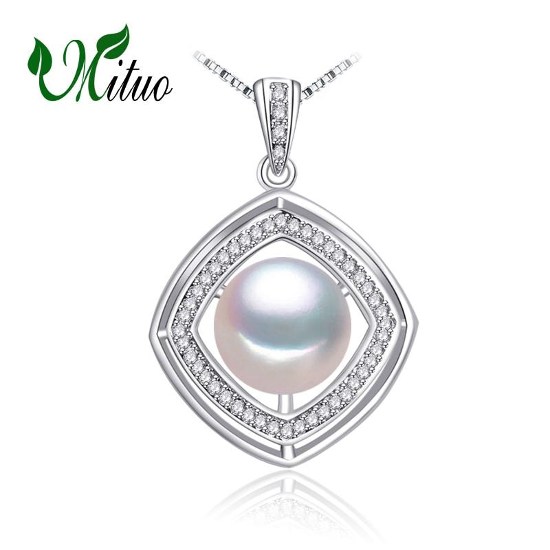 MITUO 925 sterling ezüst bohemian gyöngy nyaklánc hagy négyzet - Finom ékszerek