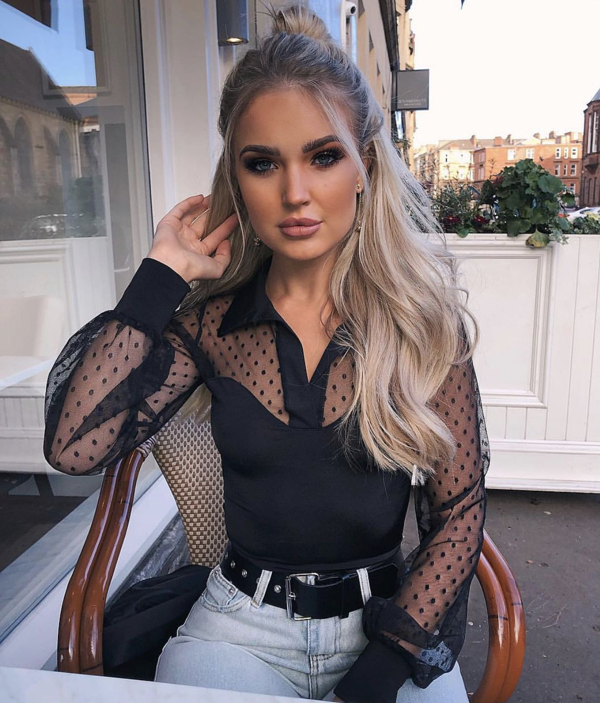 Women Mesh Sheer Lace Blouse Ladies Summer Long Sleeve Dot Sexy V-neck Vest Tops 2019 New Fashion Elegant And Graceful Women's Clothing