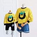 Семьи сопоставления одежда 2016 Весна Зима желтый печатных медведь мультфильм толстовки мать и дочь хлопок одежда топы