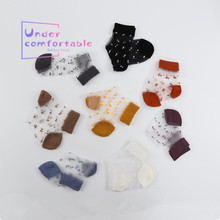 Newest Spring Summer Transparent sock Japanese Style Grace Ultra-thin Dots Pattern socks Women Low Ankle Silk Sock