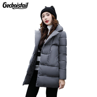 Geckoistail Woman Winter Jacket Coat 2017 Fashion Cotton Padded Jacket Long Hood Slim Parkas Plus Size