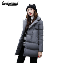 Geckoistail Woman Winter Jacket Coat 2017 Fashion Cotton Padded Jacket Long Hood Slim Parkas Plus Size Thicken Female Outerwear