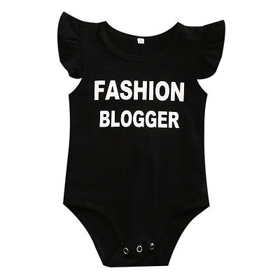 Newborn Baby Boys Girls Fashion Blogger Butterfly Sleeves Romper Jumpsuit Clothes Outfits