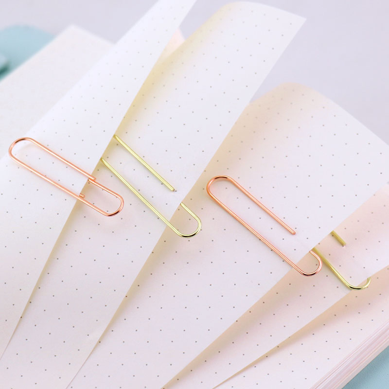 Купить с кэшбэком TUTU Rose Gold Fashion Paperclip Metal Paper Clips Photo Clip Paper Clips Decorative Gift Stationary Office Supplies H0089