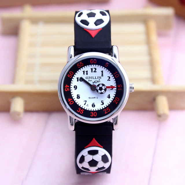 2018 children boys cartoon quartz watches kids students 3D football anime sports