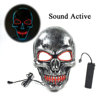 High Grade Anonymous Party Decor Blink EL Wire Mask Holiday Lighting Double Color Mixed Scared LED