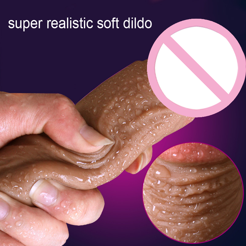New Super Realistic Soft Silicone Dildo Suction Cup Male Artificial Penis Dick Woman Masturbator Adult Sex Toys Dildos For Wome super realistic soft silicone dildo with suction cup artificial penis masturbator toy adult sex toys dildos for women c3 1 f107