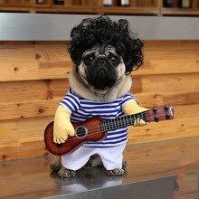 Забавная собака гитарный плеер Косплей Костюм для маленькой собаки для  питомцев b141c0eef5ade
