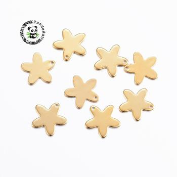 304 Stainless Steel Flower Charms Golden Color Pendants for Necklace Making , 13.5x14x1mm, Hole: 1mm