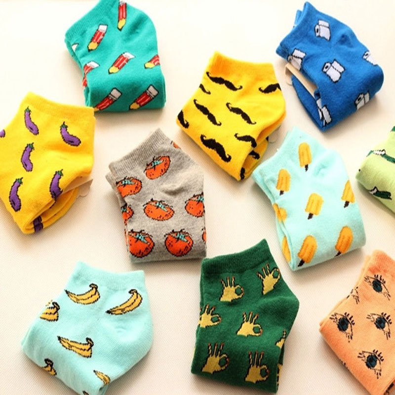 New Cute 11  Fruit Color Love Candy Color Cotton Sock Summer Style Women's Socks Women's Thin Sock Slippers 1pair=2pcs Ws85