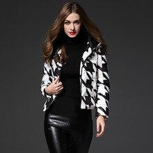 Winter Jacket Women High Quality Geometric White Duck Down Zipper Long Sleeve Womens Winter Jackets And Coats