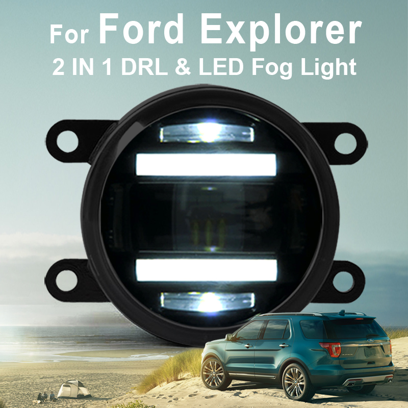 2013-2015 For Ford Explorer New Led Fog Light with DRL Daytime Running Light with Lens Fog Lamps Car Styling Led Lamps Refit Ori hireno high power highlighted car drl lens fog lamps led daytime running light for suzuki alto 2005 no 2pcs