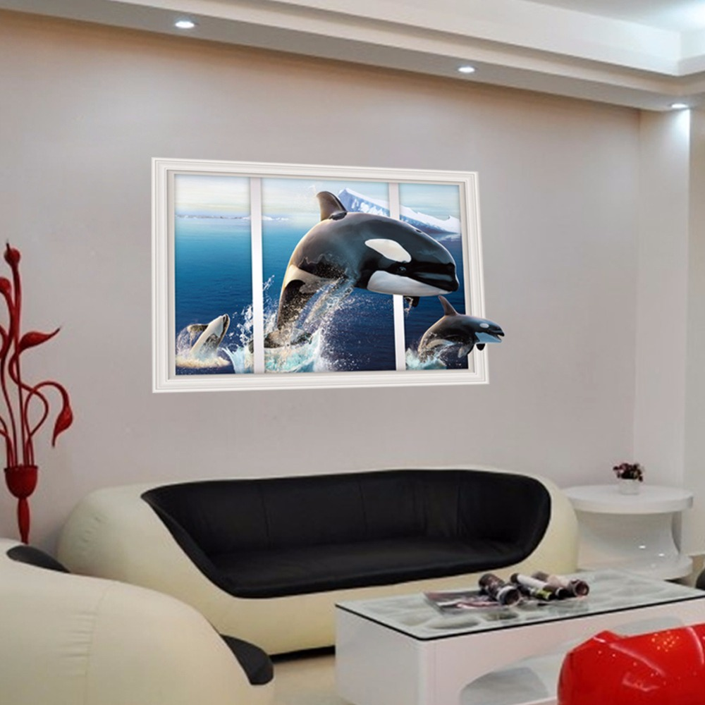 From the window to the wall whale - 2017 New Creative 3d False Windows Whale Leap Out Of The Water Home Decoration Wall Stickers