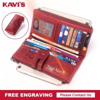 KAVIS Free Engraving Genuine Women Wallet Female Coin Purse Hasp Portomonee Clutch Money Bag Lady Handy Perse for Girl Gifts