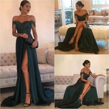 2019 Dark Green Sexy Prom Dresses A Line Chiffon Off-the-Shoulder Floor-Length High Side Split Lace Elegant Long Evening Dress F