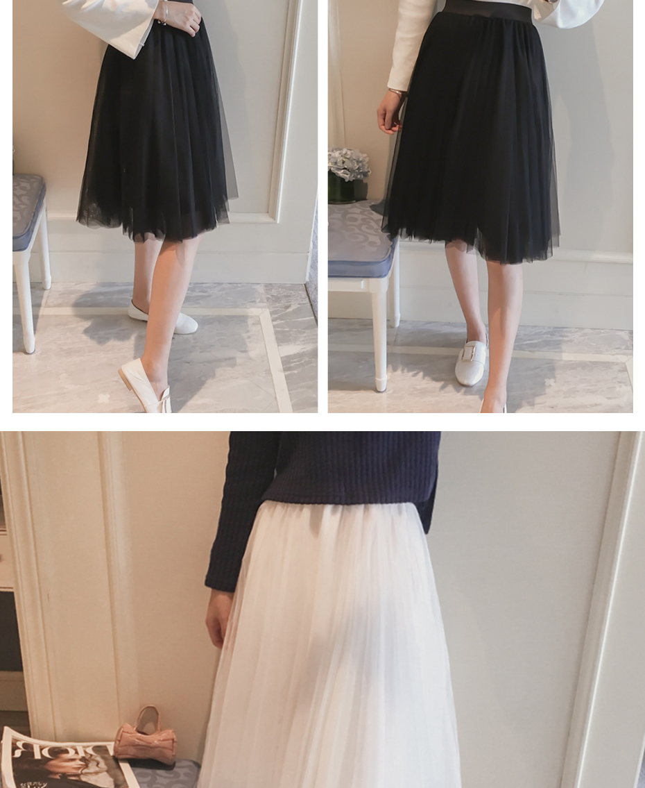 A-line High Waist Pleated Tulle Skirt