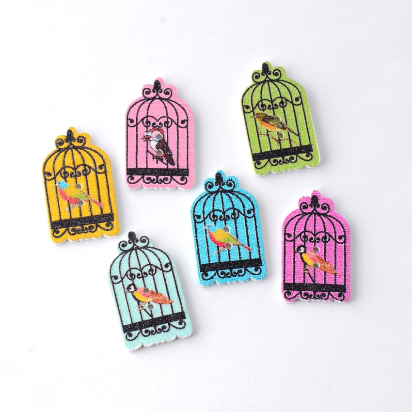 Honey Free Shipping Retail 30pcs Random Mixed Lovely Cage Bird 2 Holes Wood Painting Sewing Buttons Scrapbooking 30x18mm Elegant In Smell Home & Garden Buttons