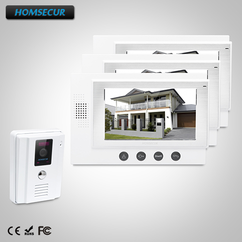 HOMSECUR 7 Hands-free Video&Audio Home Intercom Electric Lock Supported 1C3M: TC011-W Camera (White)+TM701-W Monitor (White)