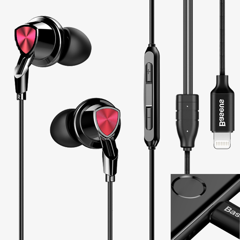 Baseus Fashion HiFi Earphone For iPhone 7 Lightning Music Earphone Sport Running Stereo Headset Wired in Ear Earbuds Earpiece baseus magnetic bluetooth earphone for iphone 7 samsung s8 wireless sport running stereo in ear earbuds headset mp3 mp4 earpiece