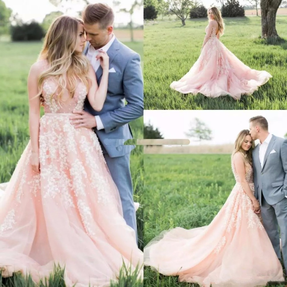 Pink Wedding Dresses 2019: 2019 Charming Blush Pink Wedding Dresses White Appliques