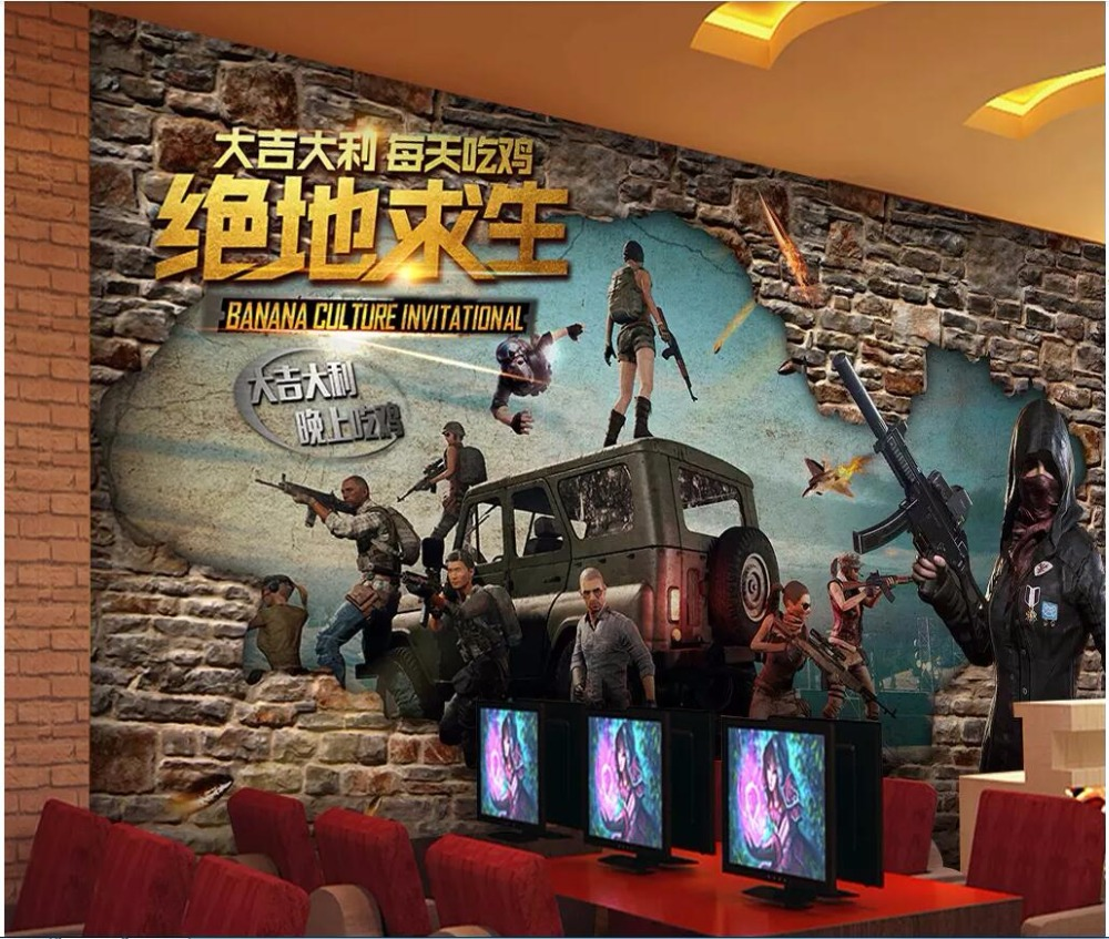 Us 1434 50 Off3d Wallpaper Custom Photo Retro Brick Wall Shooting Game Leisure Internet Bar Background Living Room Wallpaper For Walls 3 D In