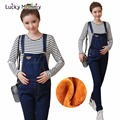 Winter Plus Velvet Pregnant Clothing for Pregnant Women Thick Maternity Overalls Warm Jumpsuits Pregnant Fleece Jeans Pants
