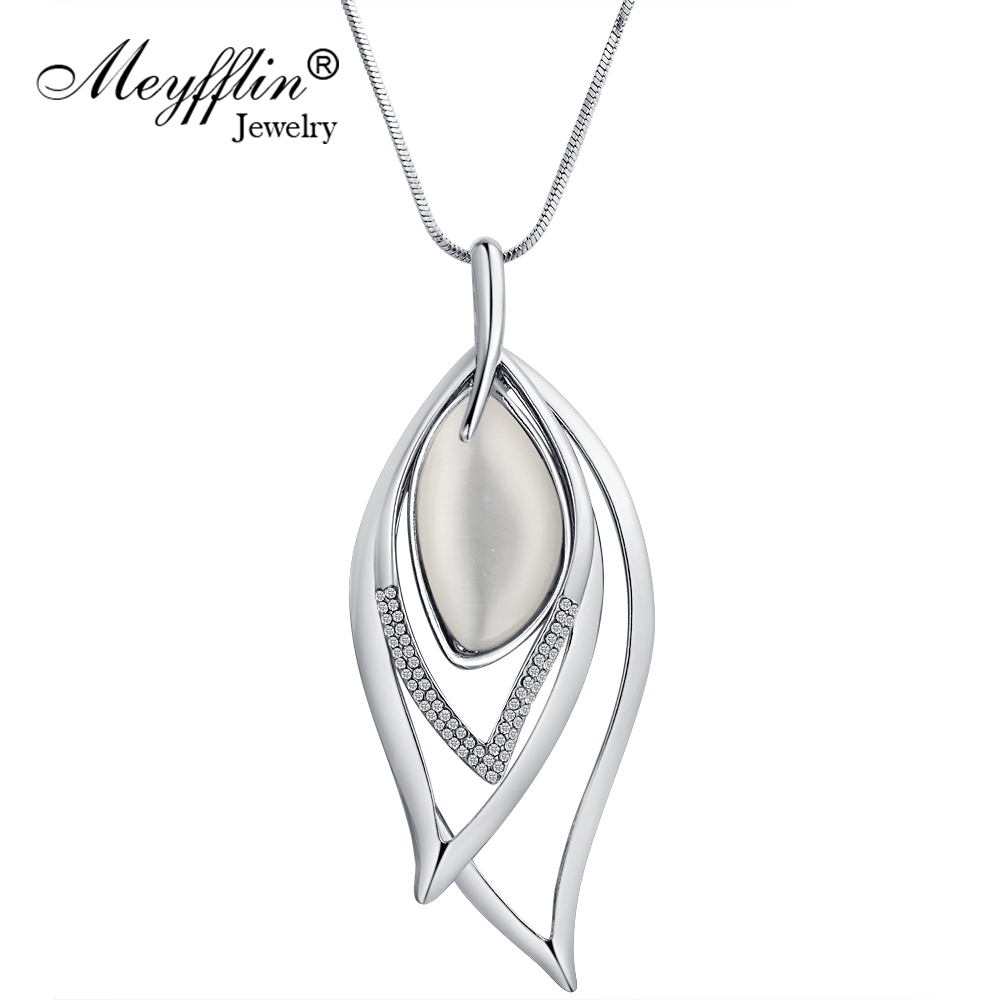 Meyfflin Long Necklaces & Pendants Vintage Silver Chain Crys