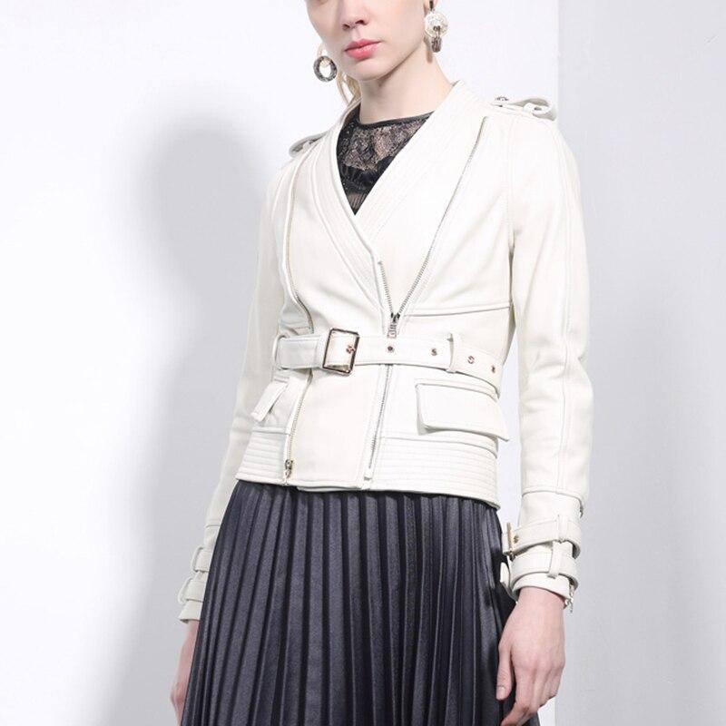 Femelle En blanc Veste Véritable De Manteaux Et Survêtement Noir Motard Moto Cuir Mouton Streetwear Ceinture 2018 Blanc Coréenne Femmes Peau Réel Mode wnqgxAIC1T