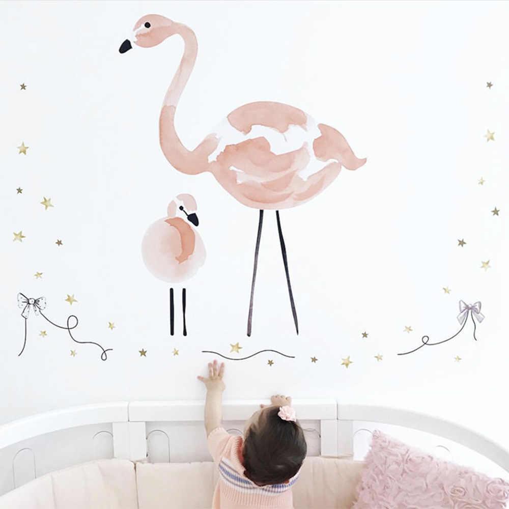 Kamar Bayi Stiker DIY Flamingo Bulu Balon Udara Panas Stiker Dinding untuk Kamar Anak Nordic Dekorasi Anak Mural Stiker Stiker