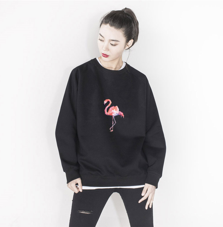 Kpop home harajuku style Flamingo Unisex Couples Hoodie lovers clothes Man and Womens sweatshirt high quality