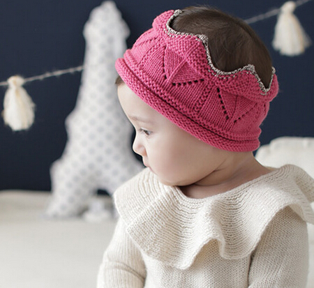 Free Shipping!2015 New Knitted Headbands Baby Hairbands  3D Crown Elastic  Headband Children hair accessories crocheted hats women s hats and fascinators vintage sinamay sagittate feather fascinator with headband tocados sombreros bodas free shipping
