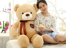 stuffed toy large 120cm light brown teddy bear plush toy love heart bear doll soft throw pillow,Valentine's Day,Xmas gift c610