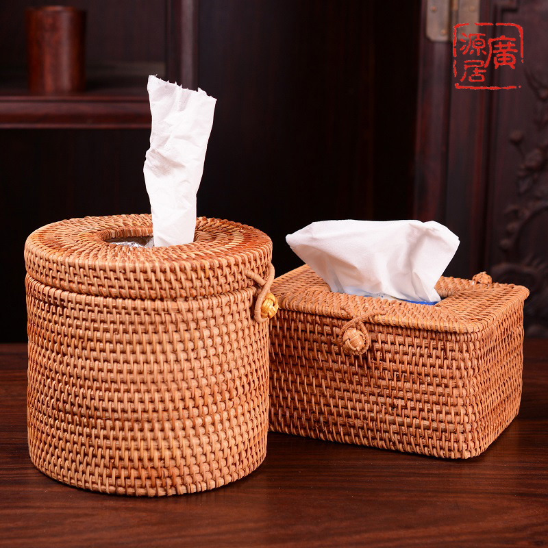 NEWYEARNEW 8styles Rattan Handicraft Woven Tissue Box for Car Antique Noble Tissue Case Holder Home Decoration