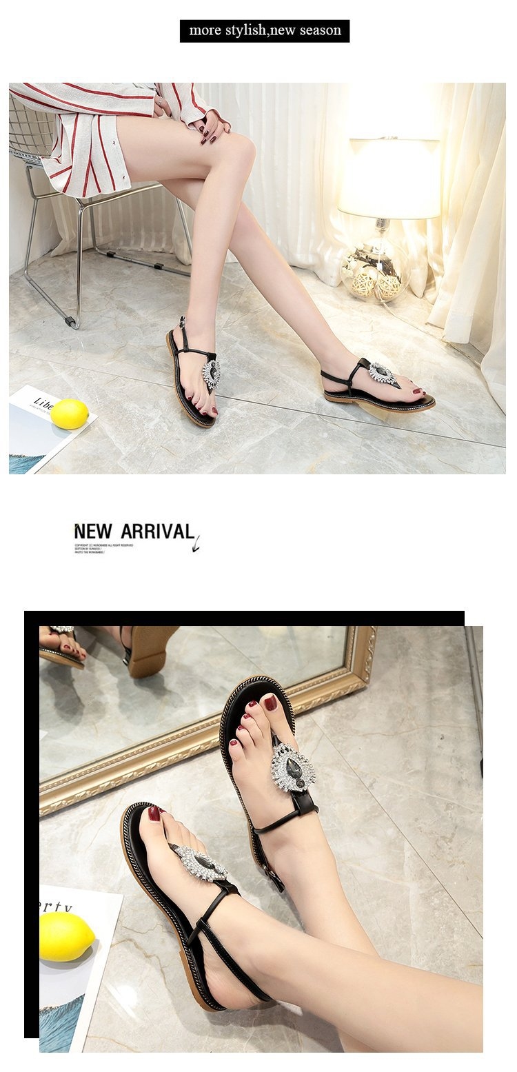 2018 New Summer Women Sandals Shoes Snake Skin Straps Gem Rhinestone Flat  Sandals Roman Thong Sandals Shoes Woman 3562-in Low Heels from Shoes on ... 28fb5e11d35f