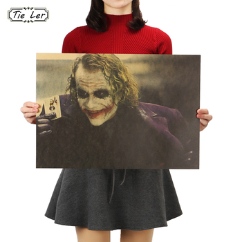 TIE LER The Dark Knight Classic Movie Kraft Poster Bar Coffee Shop Decoration Painting 51.5X36cm image
