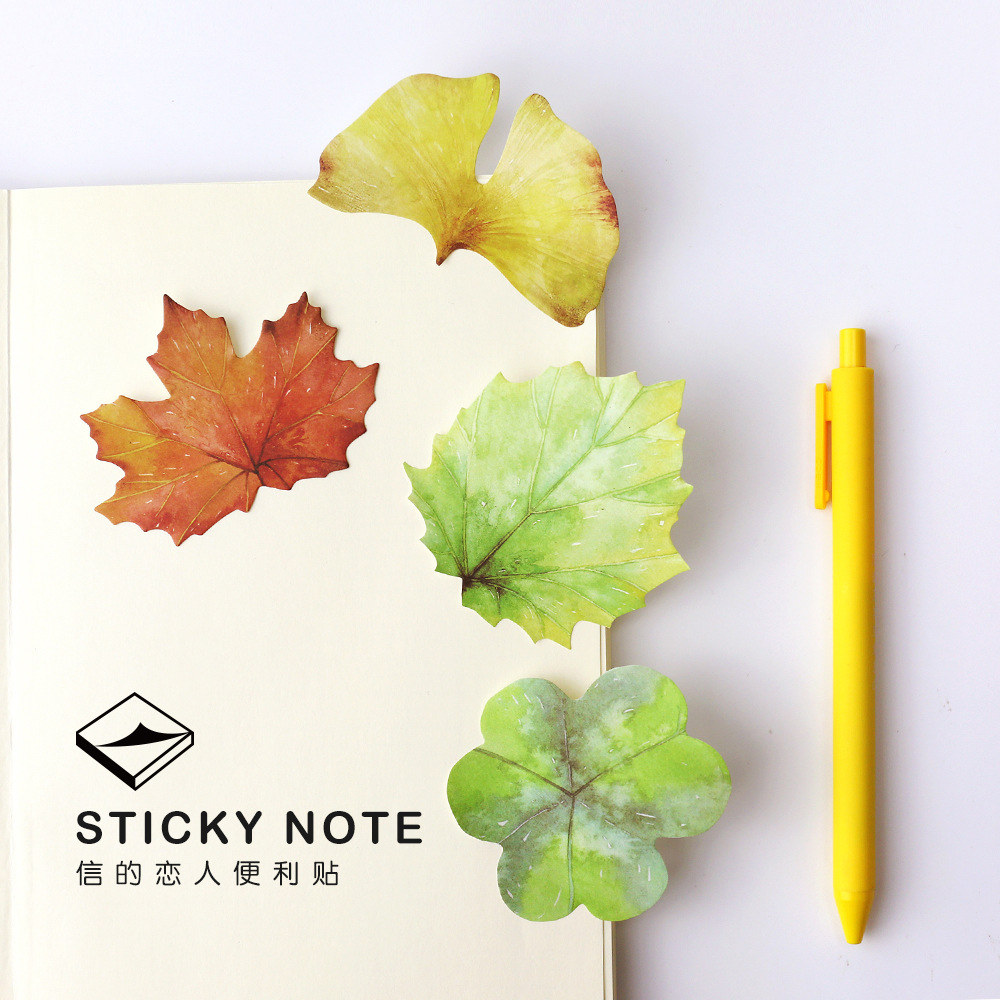 4packs/lot Korean Cute Nature Colorful Leaves Stickers Post it Leave Shape Memo Pad Sticky Notes Bookmarks DIY Message Stickers ...