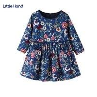 Kinder Mädchen Kleider Langarm Blumen Drucken Kleid 2018 Neue Marineblau Weichen Baumwolle Prinzessin Kleid Mädchen Kleidung Für 2-6Y