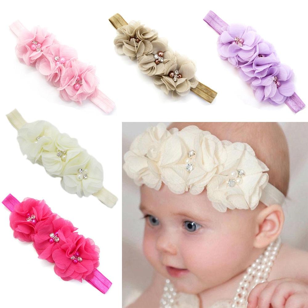 Newborn Toddler Baby Girl Elanewborn photography props hairband tiaras infantistic Headband Chiffon Flower Headband bulk buys wm415 72 simplicity embroidered sequin flower headband accent